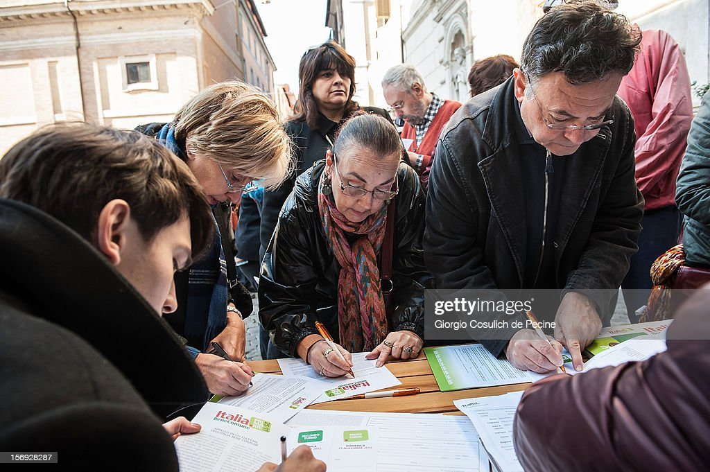 Supporters vote during the primary elections to elect the leader of the center-left party on November 25, 2012 in Rome, Italy. Approximately 3 million Italian centre-left Democratic Party (PD) members are expected to turn out to vote today to decide the candidate to lead the party at the next national election for the new Italian government in March.