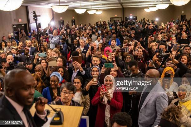 Supporters wait eagerly for the arrival of Ilhan Omar newly elected to the US House of Representatives on the Democratic ticket during her victory...