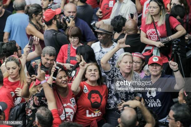 Supporters wait for Luiz Inacio Lula da Silva Brazil's former president before the official speech at the Sindicato dos Metalurgicos do ABC on...