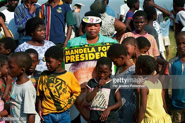anc supporters wait for president nelson mandela?s motorcade to pass by during an election campaign rally in durban, south africa - per-anders pettersson stock pictures, royalty-free photos & images