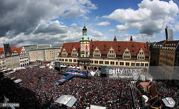 Supporters wait for promotion of RB Leipzig to the first division Bundesliga on May 16 2016 in Leipzig Germany