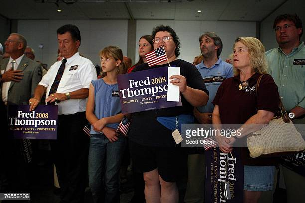 Supporters wait for the arrival of actor and former US Senator Fred Thompson at his first official campaign stop at the Polk County Convention...