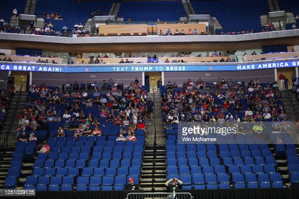 Supporters wait for the start of a campaign rally for U.S. President Donald Trump at the BOK Center, June 20, 2020 in Tulsa, Oklahoma. Trump is...