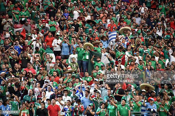 Supporters wait for the start of the Copa America Centenario football tournament match between Mexico and Uruguay in Glendale Arizona United States...