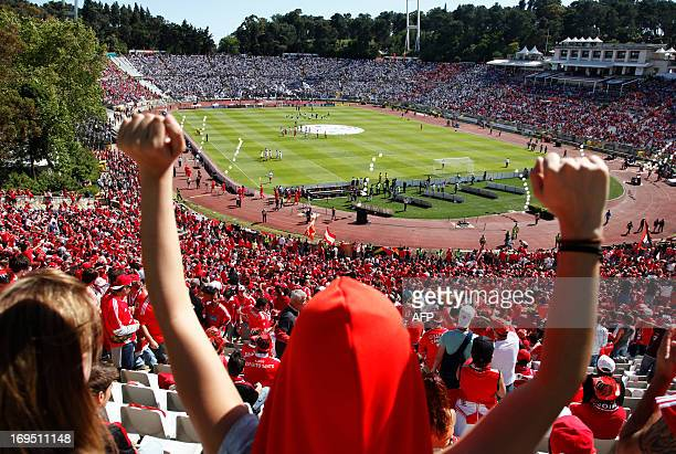 Supporters wait for the start of the Portuguese Cup final match SL Benfica vs VSC Guimaraes at the Jamor Stadium in Oeiras outskirts of Lisbon on May...