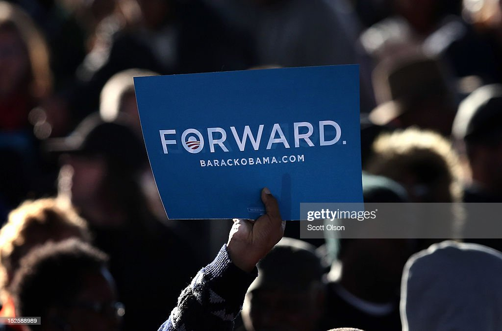 Supporters wait for U.S. President Barack Obama to arrive at a campaign rally on September 22, 2012 in Milwaukee, Wisconsin. In addition to the rally, Obama attended two fundraising events during his visit to Milwaukee.