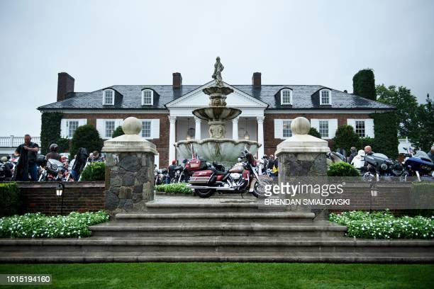 Supporters wait for US President Donald Trump during a Bikers for Trump event at the Trump National Golf Club August 11 2018 in Bedminster New Jersey...