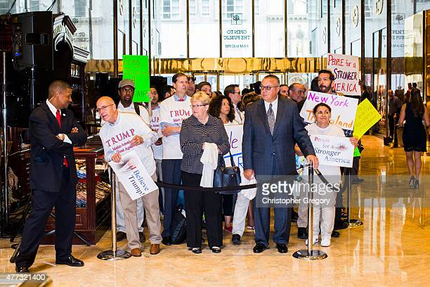 Supporters wait in line to see New York business mogul Donald Trump announce his candidacy for the US presidency at Trump Tower on June 16 2015 in...
