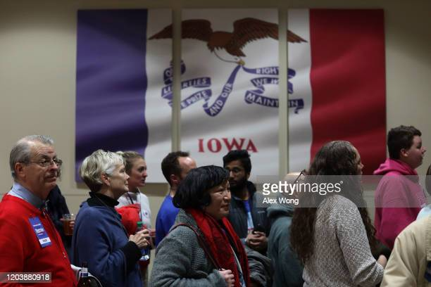 Supporters wait to enter a caucus night event of Democratic president candidate Sen Bernie Sanders February 3 2020 in Des Moines Iowa Iowa is the...