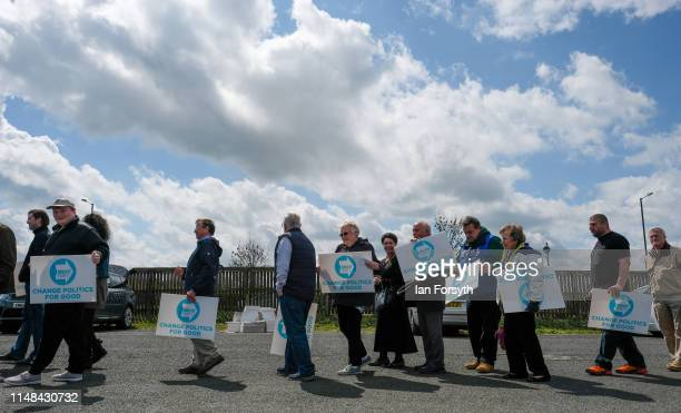 Supporters wait to enter ahead of a Brexit Party campaign event at Rainton Meadows Arena on May 11 2019 in Houghton Le Spring United Kingdom The 2019...