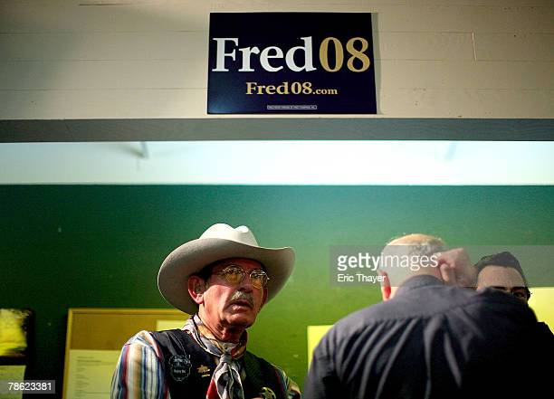 Supporters wait to greet Republican presidential candidate Fred Thompson at a campaign event at the Webster County Republican headquarters December...