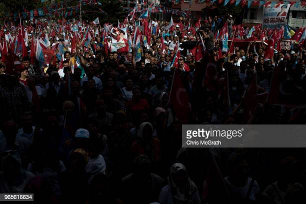 Supporters wait to hear leader of Turkey's Iyi Party and presidential candidate Meral Aksener speak during a rally on June 1 2018 in Antakya Turkey...