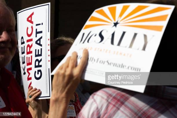 Supporters wait to hear Republican U.S. Senate candidate Sen. Martha McSally speak at the AZGOP Headquarters on November 2, 2020 in Phoenix, Arizona....