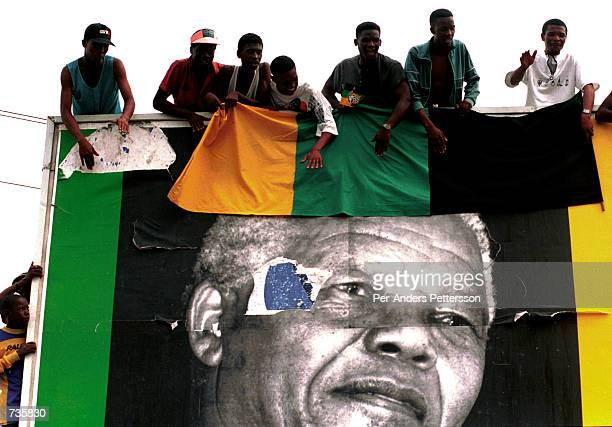 ANC supporters waiting for President Nelson Mandela on April 13 1994 at an ANC rally in Durban weeks before the first democratic election in 1994 Mr...