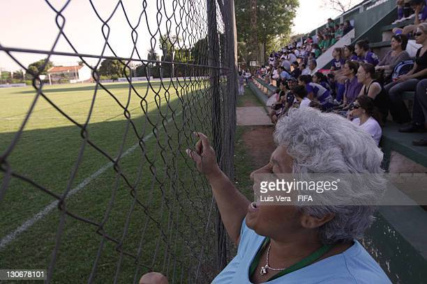 Supporters watch a match during the FIFA Women's Football Initiative in Paraguay on October 27 2011 in Asuncion Paraguay