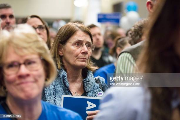 RICHMOND KENTUCKY USA NOVEMBER 6 2018 Supporters watch as Democratic nominee Amy McGrath concedes the election for Kentuckys 6th congressional...