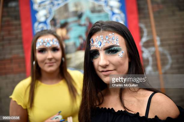 Supporters watch on as the annual 12th of July Orange march and demonstration takes place on July 12 2018 in Belfast Northern Ireland The marches...