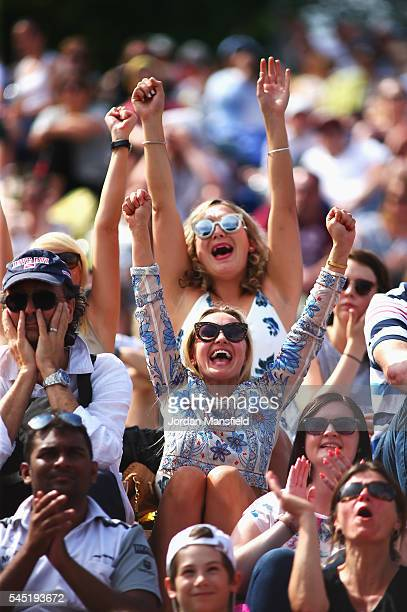 Supporters watch on from murray Mound on day nine of the Wimbledon Lawn Tennis Championships at the All England Lawn Tennis and Croquet Club on July...