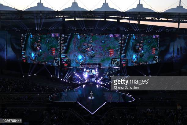 Supporters watch the Finals match of 2018 The League of Legends World Championship at Incheon Munhak Stadium on November 3 2018 in Incheon South Korea