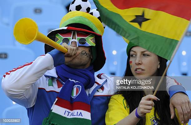 Supporters wave a Ghanaian flag prior the Group D first round 2010 World Cup football match Serbia vs Ghana on June 13 2010 at Loftus Verfeld stadium...