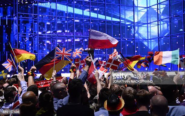 Supporters wave flags ahead of the Eurovision Song Contest 2014 Grand Final in Copenhagen Denmark on May 10 2014 AFP PHOTO/JONATHAN NACKSTRAND