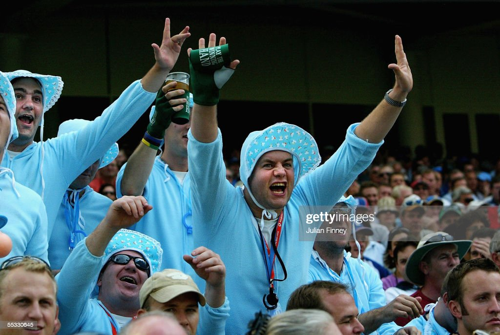 Supporters wear fancy dress costumes during day three of the fifth npower Ashes Test match between England and Australia at the Brit Oval on September 10, 2005 in London, England.