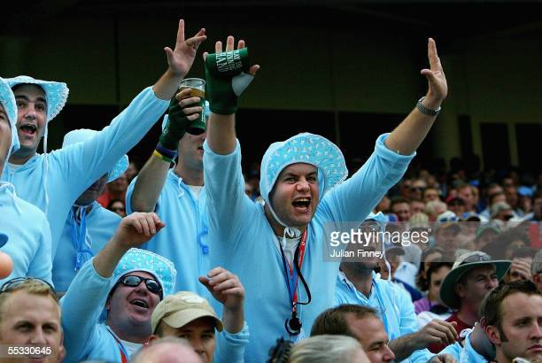 Supporters wear fancy dress costumes during day three of the fifth npower Ashes Test match between England and Australia at the Brit Oval on...