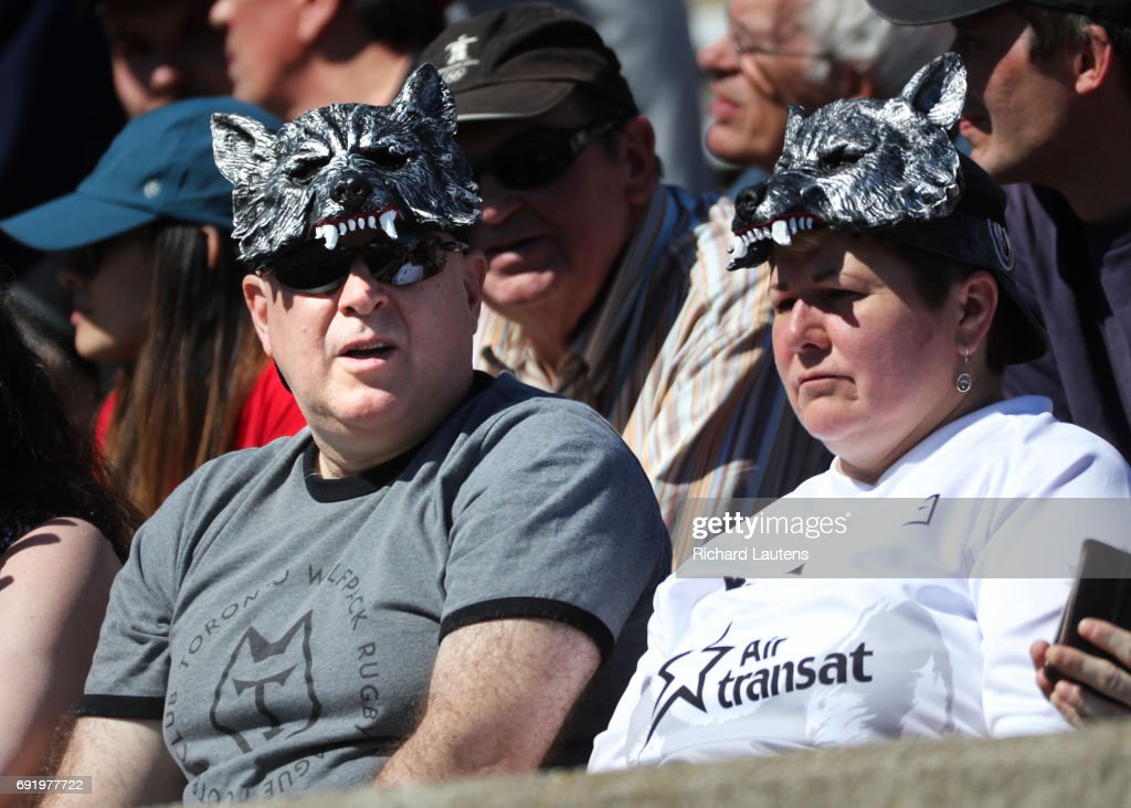 TORONTO, ON - JUNE, 3 Supporters wear wolf head hats in the afternoon sun. Canada's first professional rugby team the Toronto Wolfpack beat the Coventry Bears 56-12 in English Rugby Football League action at Lamport Stadium in Toronto. June 3, 2017 Richard Lautens/Toronto Star