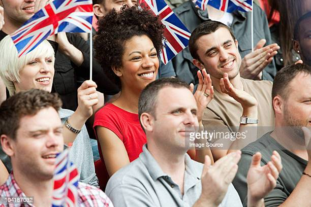 uk supporters with flags - the olympic games stock pictures, royalty-free photos & images