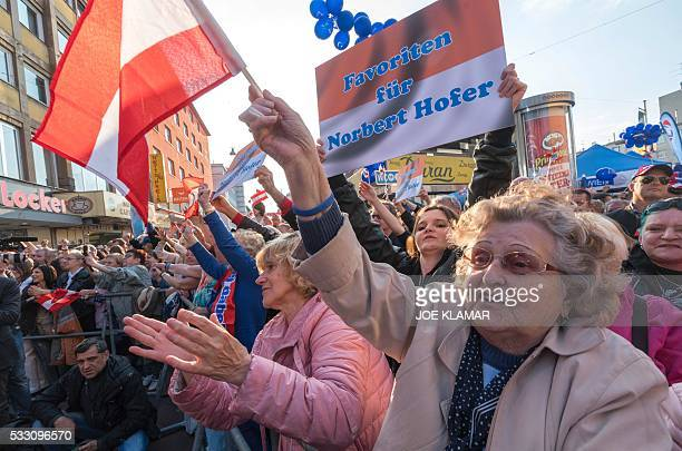Supportersof Rightwing Austrian Freedom Party presidential candidate Norbert Hofer attend Hofer's final election campaign rally at the Viktor Adler...