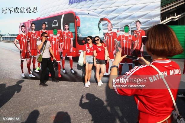 Supportes of Bayern Muenchen at the FC Bayern Muenchen Fan Zone prior to the International Champions Cup Shenzen 2017 match between Bayern Muenchen...