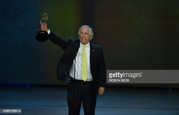 TOPSHOT Supporting actor in a comedy series winner Henry Winkler onstage during the 70th Emmy Awards at the Microsoft Theatre in Los Angeles...