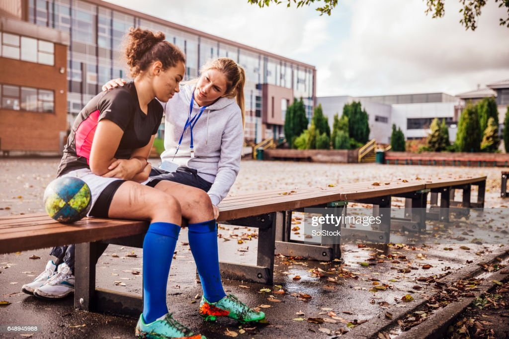 Supporting her Rugby Players : Stock Photo