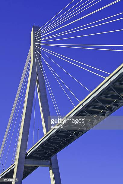 supporting pillar of a harp style bridge - prop stock photos and pictures