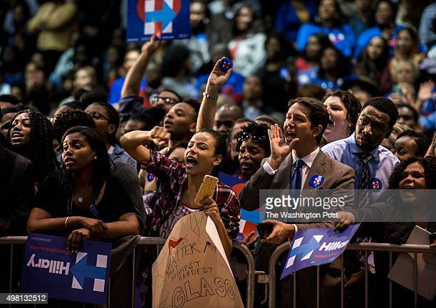 A supportive Clinton crowd chants