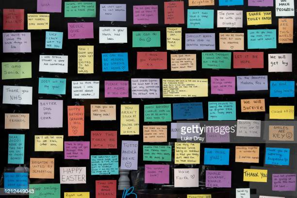 Supportive messages are displayed in a shop front along Western Road, a vein of the city, on May 09, 2020 in Brighton, England. On Sunday February...