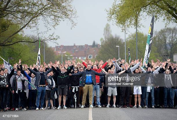 Suppporters of Hannover 96 including Hooligans and Ultras of the club are seen during a walk towards the HDIArena prior the start of the Bundesliga...