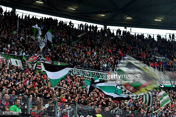 Suppporters of Hannover 96 including Hooligans and Ultras of the club are seen during the first half of the Bundesliga match between Hannover 96 and...