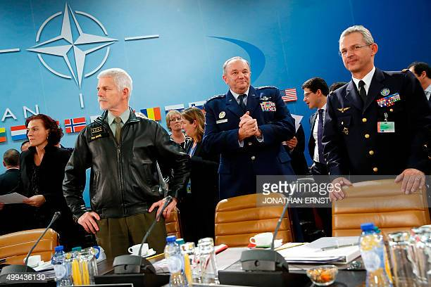 Supreme Allied Commander US Air Force General Philip Breedlove stands with Chairman of the NATO Military Committee Czech Army General Petr Pavel and...