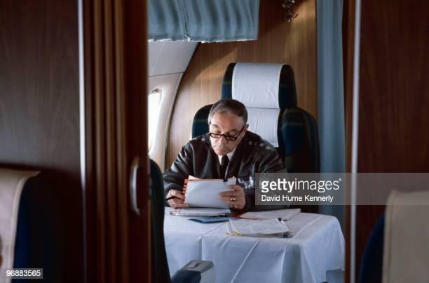 Supreme Commander of NATO Gen Alexander Haig is shown on his jet leaving in 1978 Mons Belgium
