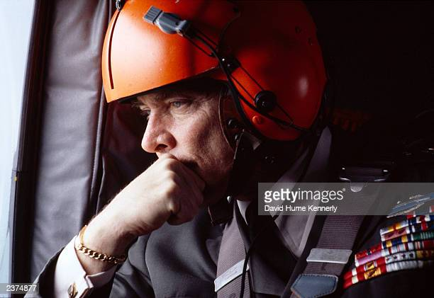 Supreme Commander of NATO US General Alexander Haig looks out the window during a 1978 helicopter ride