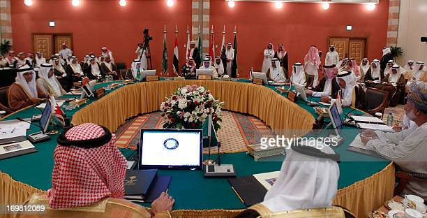 Supreme Council of the General of the Gulf Cooperation Council Foreign Ministers or representatives attend the GCC's 126th session on June 2 2013 in...