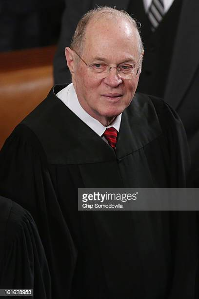 Supreme Court Associate Justice Anthony Kennedy attends US President Barack Obama's State of the Union speech before a joint session of Congress at...
