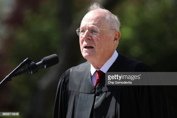 S Supreme Court Associate Justice Anthony Kennedy delivers remarks before administering the judicial oath to Judge Neil Gorsuch during a ceremony in...
