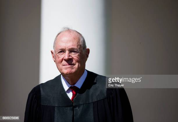 S Supreme Court Associate Justice Anthony Kennedy is seen during a ceremony in the Rose Garden at the White House April 10 2017 in Washington DC...