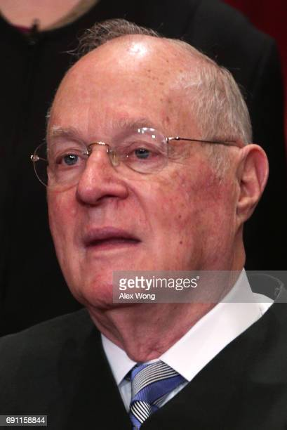 S Supreme Court Associate Justice Anthony M Kennedy poses for a portrait in the East Conference Room of the Supreme Court June 1 2017 in Washington...