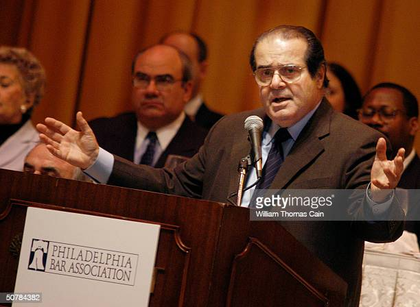 S Supreme Court Associate Justice Antonin Scalia addresses the Philadelphia Bar Association during a luncheon April 29 2004 in Philadelphia...