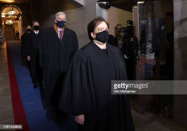 Supreme Court Associate Justice Elena Kagan arrives at the inauguration of U.S. President-elect Joe Biden on the West Front of the U.S. Capitol on...
