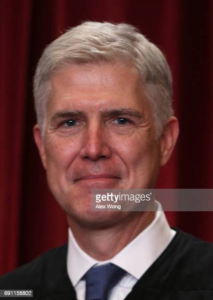 S Supreme Court Associate Justice Neil Gorsuch poses for a portrait in the East Conference Room of the Supreme Court June 1 2017 in Washington DC The...