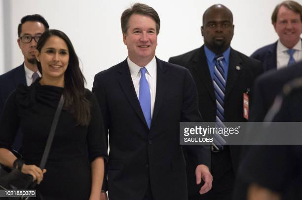 Supreme Court associate justice nominee Brett Kavanaugh arrives for a meeting with US Senator Chris Coons, Democrat of Delaware, on Capitol Hill in...